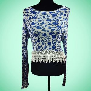 Blue & White Floral Lace H&M Divided Top Sz Med